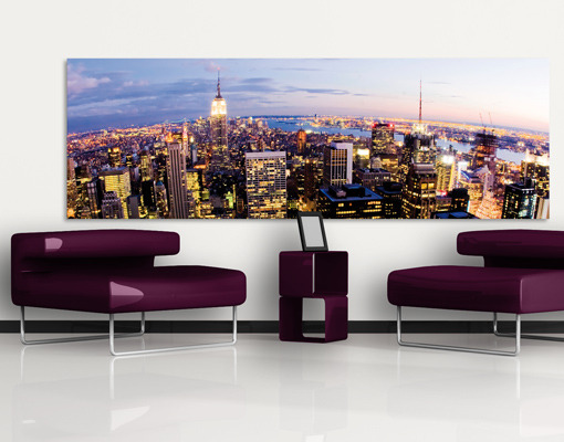 leinwand bild bilder new york skyline bei nacht 120x40 panorama usa gro stadt ebay. Black Bedroom Furniture Sets. Home Design Ideas