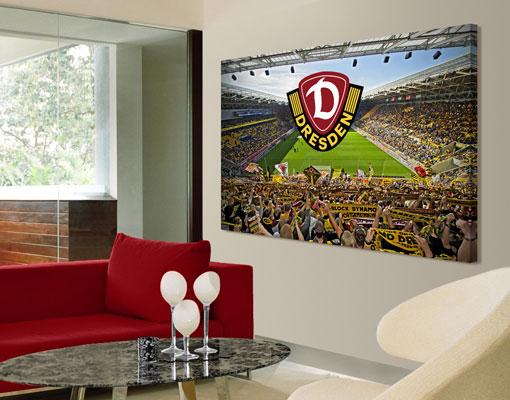 leinwand bild bilder sg dynamo dresden schalparade logo leinwanddruck rahmen ebay. Black Bedroom Furniture Sets. Home Design Ideas