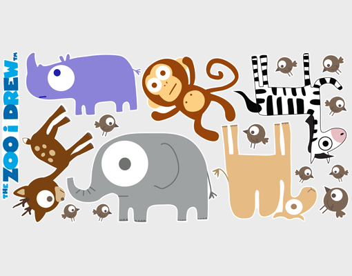 wandtattoo the zoo i drew tierparade sticker set kinderzimmer affe elefant reh ebay. Black Bedroom Furniture Sets. Home Design Ideas