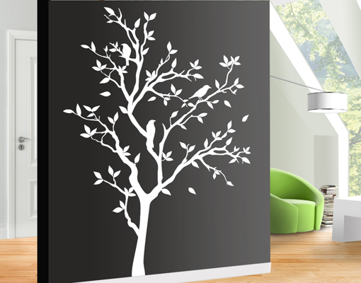 wandtattoo no yk14 zwitschernder baum v gel bl tter ste. Black Bedroom Furniture Sets. Home Design Ideas
