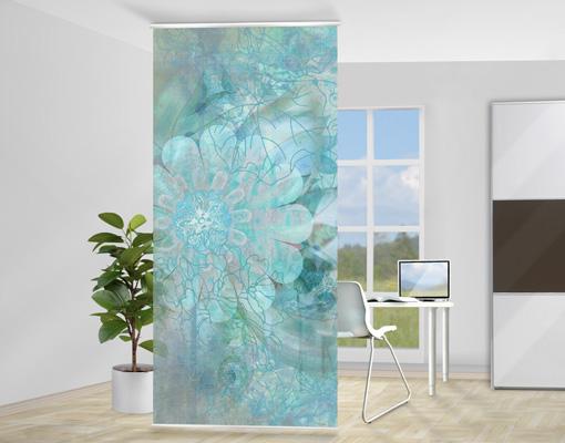 design raumteiler winterblumen schiebe vorhang gardine fl chenvorhang trennwand ebay. Black Bedroom Furniture Sets. Home Design Ideas