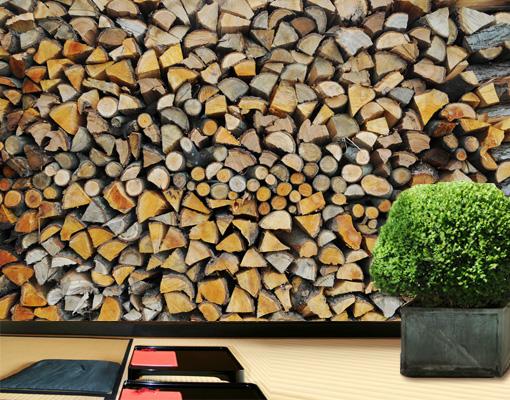 holz tapete wohnzimmer: Homey Firewood Tapete Holz Zuhause Feuer Heimelig Wohnzimmer