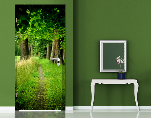 Door photo wall mural hidden glade wallpaper motif murals for Door wall mural