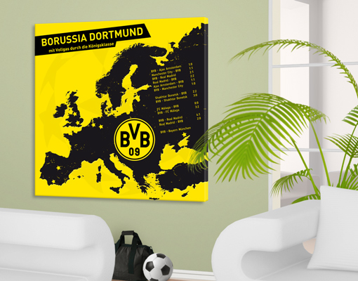 leinwand bild bilder borussia dortmund way to london fu ball bvb fan artikel ebay. Black Bedroom Furniture Sets. Home Design Ideas