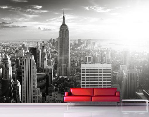 fototapete manhattan skyline tapete new york usa grau ebay. Black Bedroom Furniture Sets. Home Design Ideas