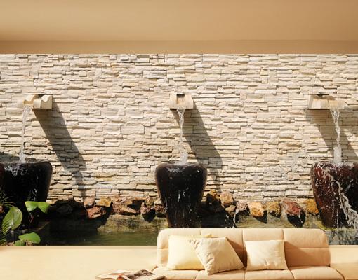 fototapete floating waters 270x288 tapete wand mauer brunnen wasserfall vasen ebay. Black Bedroom Furniture Sets. Home Design Ideas