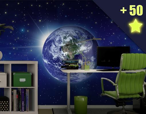 fototapete top 3 inklusive 50 wandtattoo leuchtsterne motiv universum weltall ebay. Black Bedroom Furniture Sets. Home Design Ideas
