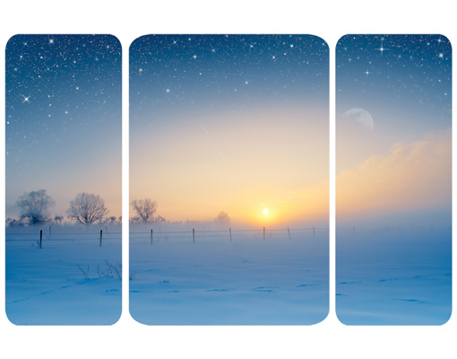 wandbild wintermorgen triptychon ii landschaft schnee glitzer stimmung romantik bilder. Black Bedroom Furniture Sets. Home Design Ideas