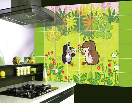 fliesenbild der kleine maulwurf erdbeeren naschen kinderzimmer tiere fliesen ebay. Black Bedroom Furniture Sets. Home Design Ideas