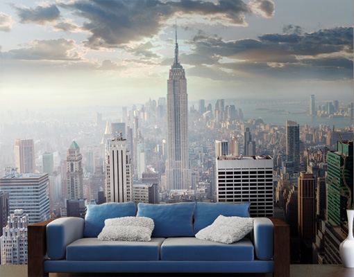 fototapete sonnenaufgang in new york tapete stadt usa amerika sonne manhattan ebay. Black Bedroom Furniture Sets. Home Design Ideas