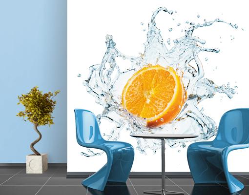 vlies fototapete frische orange tapete k che obst frisch spritzig wasser ebay. Black Bedroom Furniture Sets. Home Design Ideas