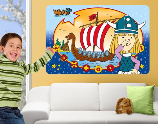 wandbild wickie flake wandtattoo design kinderzimmer wikinger abenteuer junge ebay. Black Bedroom Furniture Sets. Home Design Ideas