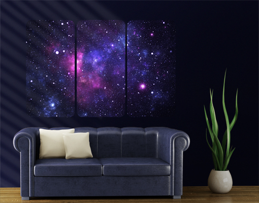 Wall mural galaxy triptych i outer space stars cosmos for Galaxy wand