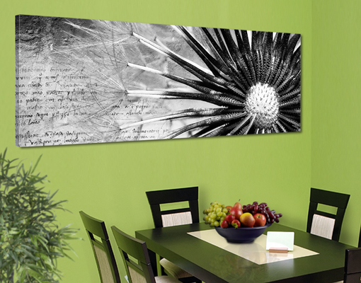 leinwand bild bilder pusteblume schwarz wei 120x40 panorama pusteblumen ebay. Black Bedroom Furniture Sets. Home Design Ideas