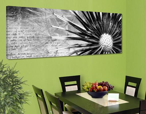 leinwand bild bilder pusteblume schwarz wei 120x40. Black Bedroom Furniture Sets. Home Design Ideas