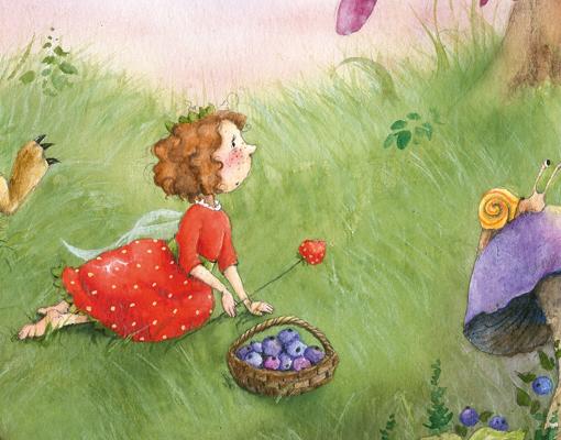 Fototapete erdbeerinchen erdbeerfee im garten fenster - Vliestapete kinderzimmer madchen ...