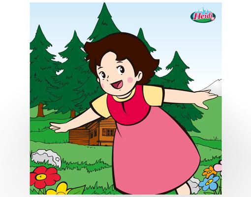 Design tisch heidi zuhause kinderzimmer wiese berge for Kinderzimmer berge