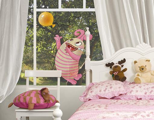 fenstersticker sorgenfresser polli mit luftballon. Black Bedroom Furniture Sets. Home Design Ideas