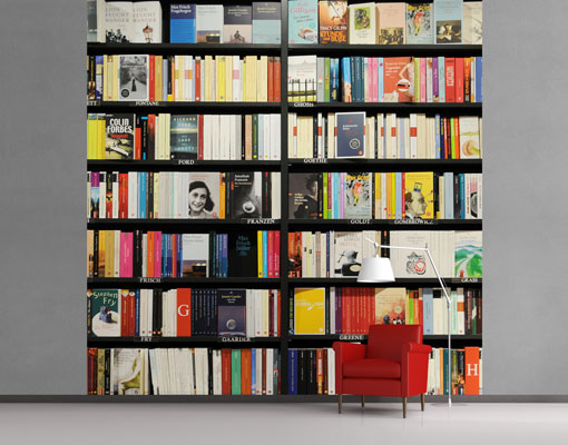 Fleece wall mural book lover library bookshelf collection for Bookshelf wall mural