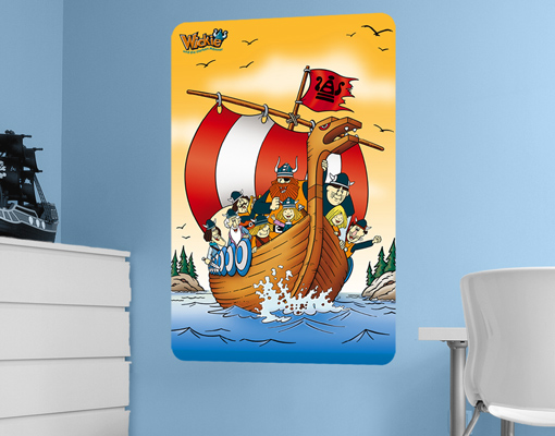 wandbild wickie wikingerschiff kinderzimmer wandtattoo wanddesign poster junge ebay. Black Bedroom Furniture Sets. Home Design Ideas