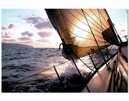 alu dibond butlerfinish bild sailing trip boot segeln wasser meer ozean 33x22cm bilder. Black Bedroom Furniture Sets. Home Design Ideas