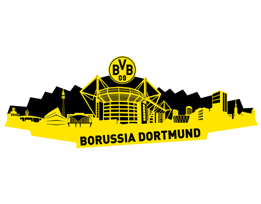wandtattoo borussia dortmund skyline dortmund schwarz bvb fu ball verein fan artikel. Black Bedroom Furniture Sets. Home Design Ideas