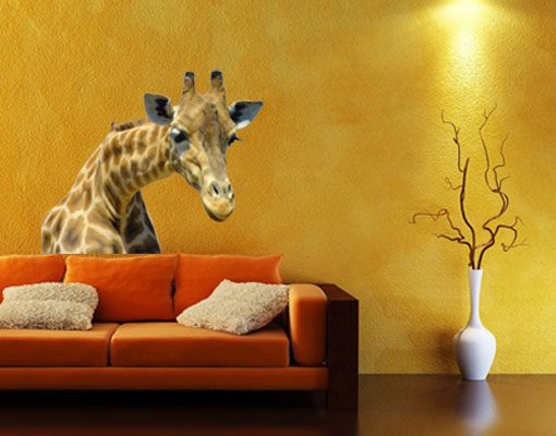 wandtattoo neugierige giraffe 60x50 wand sticker kinderzimmer tier afrika zoo ebay. Black Bedroom Furniture Sets. Home Design Ideas