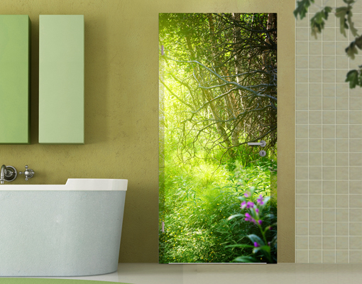 Door photo wall mural magic forest wallpaper motif murals for Door mural wallpaper