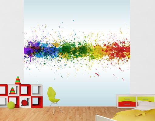vlies fototapete tapete rainbow splatter regenbogen farben tropfen bunt modern ebay. Black Bedroom Furniture Sets. Home Design Ideas