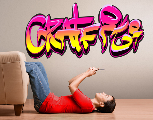 Wandtattoo girlie graffiti sticker aufkleber dekoration streetart sprayen ebay - Wandsticker graffiti ...