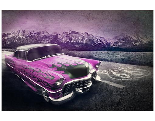 alu dibond butlerfinish bild pink cadillac oldtimer auto w ste retro vintage amerika. Black Bedroom Furniture Sets. Home Design Ideas