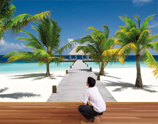 Photo wall mural paradise bay 400x280 wallpaper wall art for Beach mural for wall