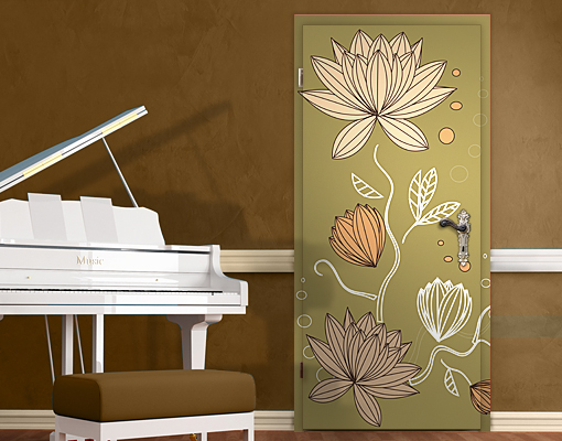Door wall mural art nouveau flower wallpaper wall art wall for Art nouveau mural