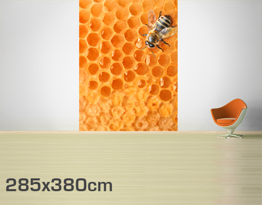 Fleece wall mural honey bee wallpaper wall art wall decor for Honey bee decorations for your home