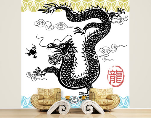 Fleece wall mural asian dragon wallpaper fleece mural asia for Asian mural wallpaper