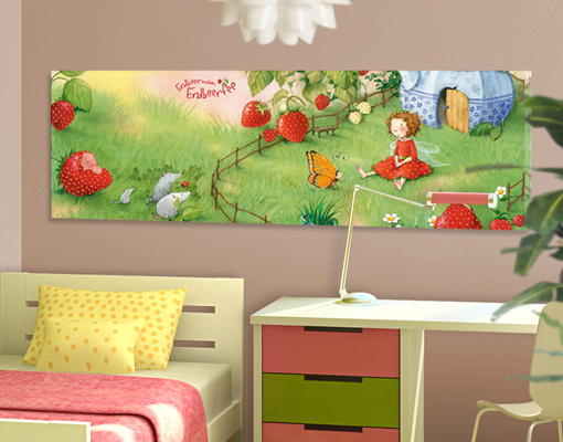 leinwand bild bilder erdbeerinchen erdbeerfee im garten panorama kinderzimmer ebay. Black Bedroom Furniture Sets. Home Design Ideas