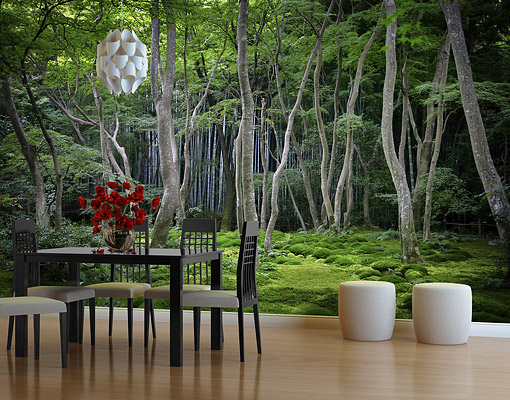 fleece wall mural japanese forest wallpaper wall art wall. Black Bedroom Furniture Sets. Home Design Ideas