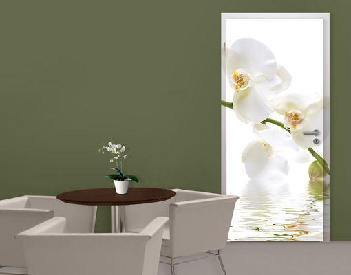 fototapete t r selbstklebend white orchid waters foto tapeten orchideen blumen ebay. Black Bedroom Furniture Sets. Home Design Ideas