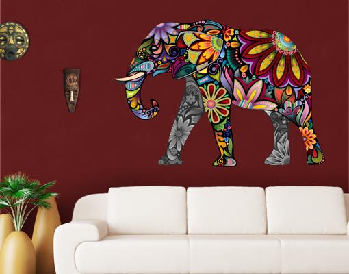 wandtattoo elefantenmuster 108x75 wandsticker kinderzimmer asien indien blumen ebay. Black Bedroom Furniture Sets. Home Design Ideas