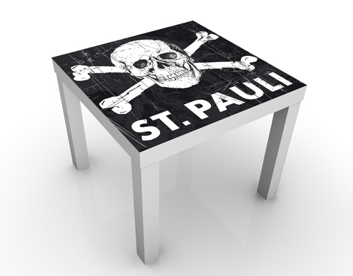 Design Tisch FC St Pauli Totenkopf weiß 55x45x55cm
