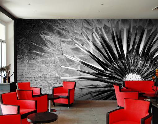fototapete pusteblume schwarz wei tapete bl ten blumen natur vintage ebay. Black Bedroom Furniture Sets. Home Design Ideas