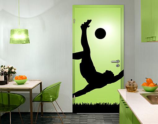 fototapete tuer selbstklebend fussballer in aktion foto. Black Bedroom Furniture Sets. Home Design Ideas