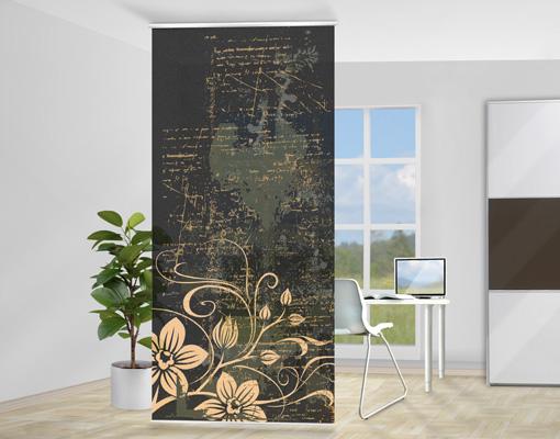 design raumteiler zarte ranken schiebe vorhang gardine. Black Bedroom Furniture Sets. Home Design Ideas