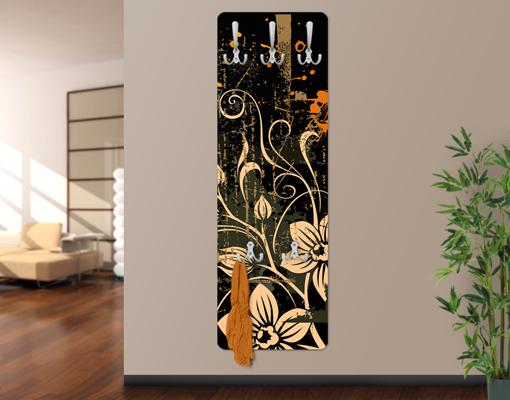 design garderobe zarte ranken wand haken flur diele floral. Black Bedroom Furniture Sets. Home Design Ideas