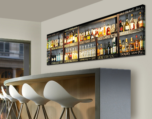 leinwand bild bilder drink lovers 39 bar 120x40 panorama alkohol flaschen regal ebay. Black Bedroom Furniture Sets. Home Design Ideas