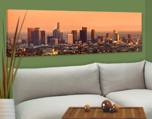 leinwand bild bilder skyline of los angeles 120x40 amerika usa wolkenkratzer. Black Bedroom Furniture Sets. Home Design Ideas