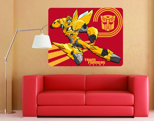 wandbild transformers bumblebee fliegt wanddesign poster kinderzimmer junge ebay. Black Bedroom Furniture Sets. Home Design Ideas