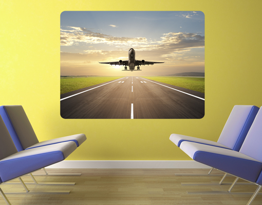 Wall mural starting airplane aeroplane airport runway for Aeroplane wall mural