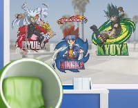 FensterSticker Beyblade - Metal Fury Gingka Kyoya Ryuga Set
