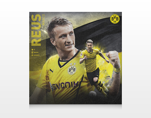 leinwand bild bilder borussia dortmund marco reus druck rahmen bvb fu ball fan. Black Bedroom Furniture Sets. Home Design Ideas